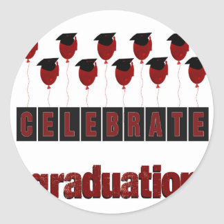 Red Balloons wearing Graduation Caps, Celebrate Gr Classic Round Sticker