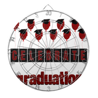Red Balloons wearing Graduation Caps, Celebrate Gr Dartboard