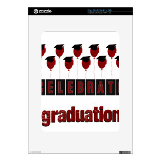 Red Balloons wearing Graduation Caps, Celebrate Gr Decal For iPad