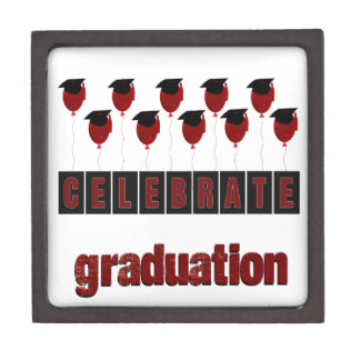 Red Balloons wearing Graduation Caps, Celebrate Gr Jewelry Box