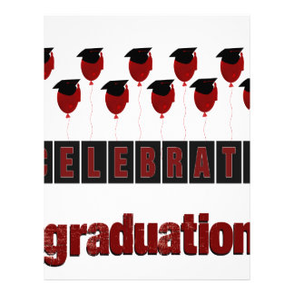 Red Balloons wearing Graduation Caps, Celebrate Gr Letterhead