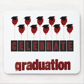 Red Balloons wearing Graduation Caps, Celebrate Gr Mouse Pad