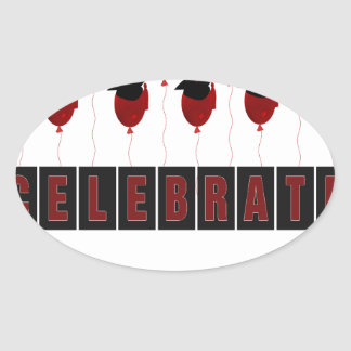 Red Balloons wearing Graduation Caps, Celebrate Gr Oval Sticker