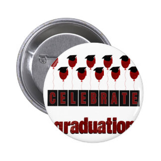 Red Balloons wearing Graduation Caps, Celebrate Gr Pinback Button