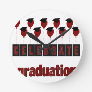 Red Balloons wearing Graduation Caps, Celebrate Gr Round Clock