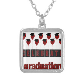 Red Balloons wearing Graduation Caps, Celebrate Gr Silver Plated Necklace