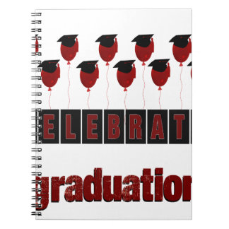Red Balloons wearing Graduation Caps, Celebrate Gr Spiral Notebook
