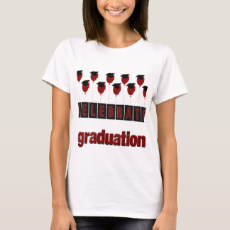 Red Balloons wearing Graduation Caps, Celebrate Gr T-Shirt
