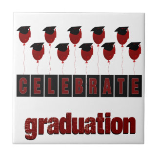 Red Balloons wearing Graduation Caps, Celebrate Gr Tile