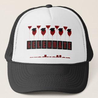 Red Balloons wearing Graduation Caps, Celebrate Gr Trucker Hat