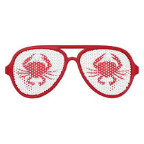 Red Baltimore Maryland Bay Crab Feast Beach Party Aviator Sunglasses