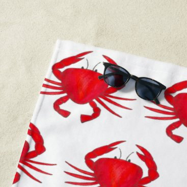 Beach Themed Red Baltimore Maryland Crab Beach Ocean Seafood Beach Towel