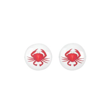 Beach Themed Red Baltimore Maryland Crab Beach Ocean Seafood Earrings