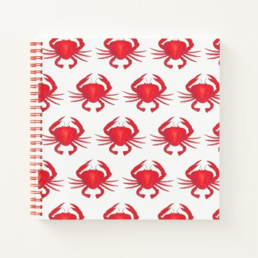 Beach Themed Red Baltimore Maryland Crab Beach Ocean Seafood Notebook
