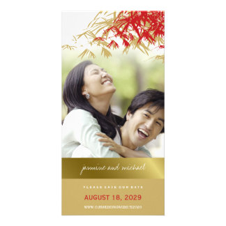 Red Bamboo Asian Wedding Save The Date Photo Card