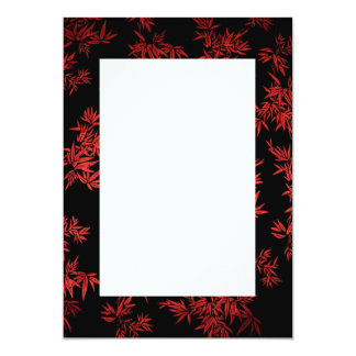Red Bamboo Leaves Border Invitation