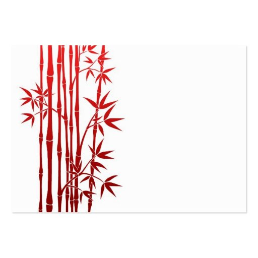 Red Bamboo Sticks with Leaves on White Business Card Template