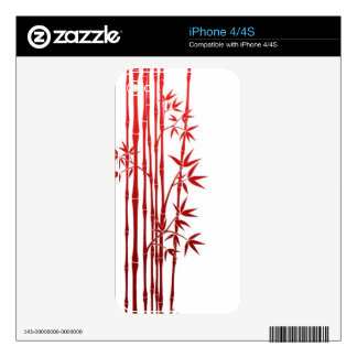 Red Bamboo Sticks with Leaves on White Skins For iPhone 4S