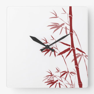 Red Bamboo Wall Clock