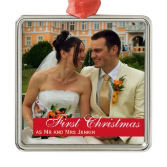 Red band couple first Christmas square photo ornament