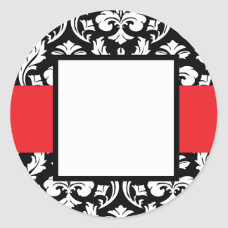 Red Band Damask Classic Round Sticker