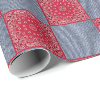 Red Bandana And Denim Print Wrapping Paper
