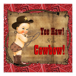 Red Bandana Cowboy Baby Shower Card