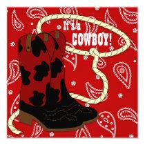 Red Bandana Cowboy Baby Shower Invitation
