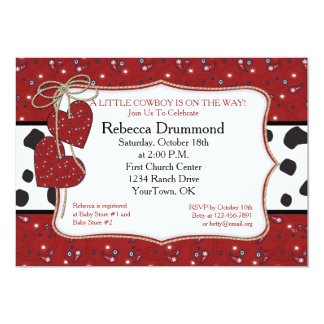 Red Bandana Cowboy Baby Shower Invitation