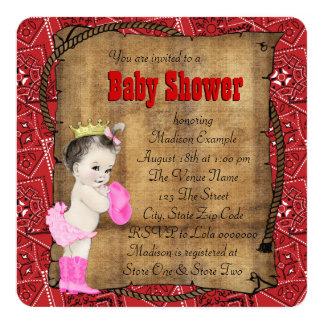 Red Bandana Cowgirl Baby Shower Card