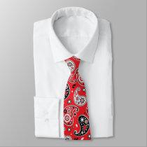 Red Bandana Paisley Elegant Country Western Neck Tie