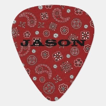 Red Bandana Pattern Guitar Pick by Lilleaf at Zazzle