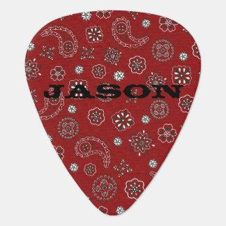 Red Bandana Pattern Guitar Pick