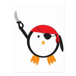 Red Bandana Pirate Penguin Postcard