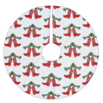 Red Bandana Print Cowboy Boots With Garland Brushed Polyester Tree Skirt