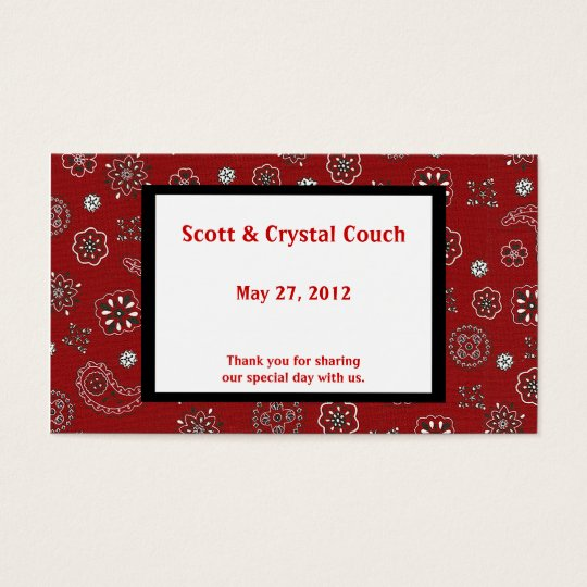 Red Bandana Wedding Favor Card