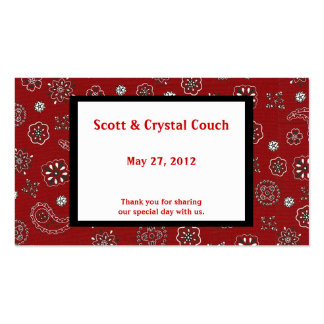 Red Bandana Wedding Favor Card Double-Sided Standard Business Cards (Pack Of 100)