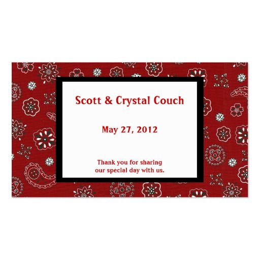 Red Bandana Wedding Favor Card Business Cards