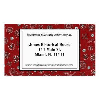 Red Bandana Wedding Reception Cards