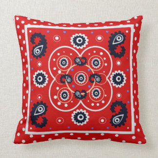 Red Bandana Western Paisley Style Mandala - Throw Pillow