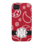 Red Bandanna Country Paisley Personalized Case For The iPhone 4