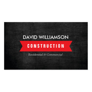 RED BANNER CONSTRUCTION, BUILDER, ARCHITECT LOGO Double-Sided STANDARD BUSINESS CARDS (Pack OF 100)