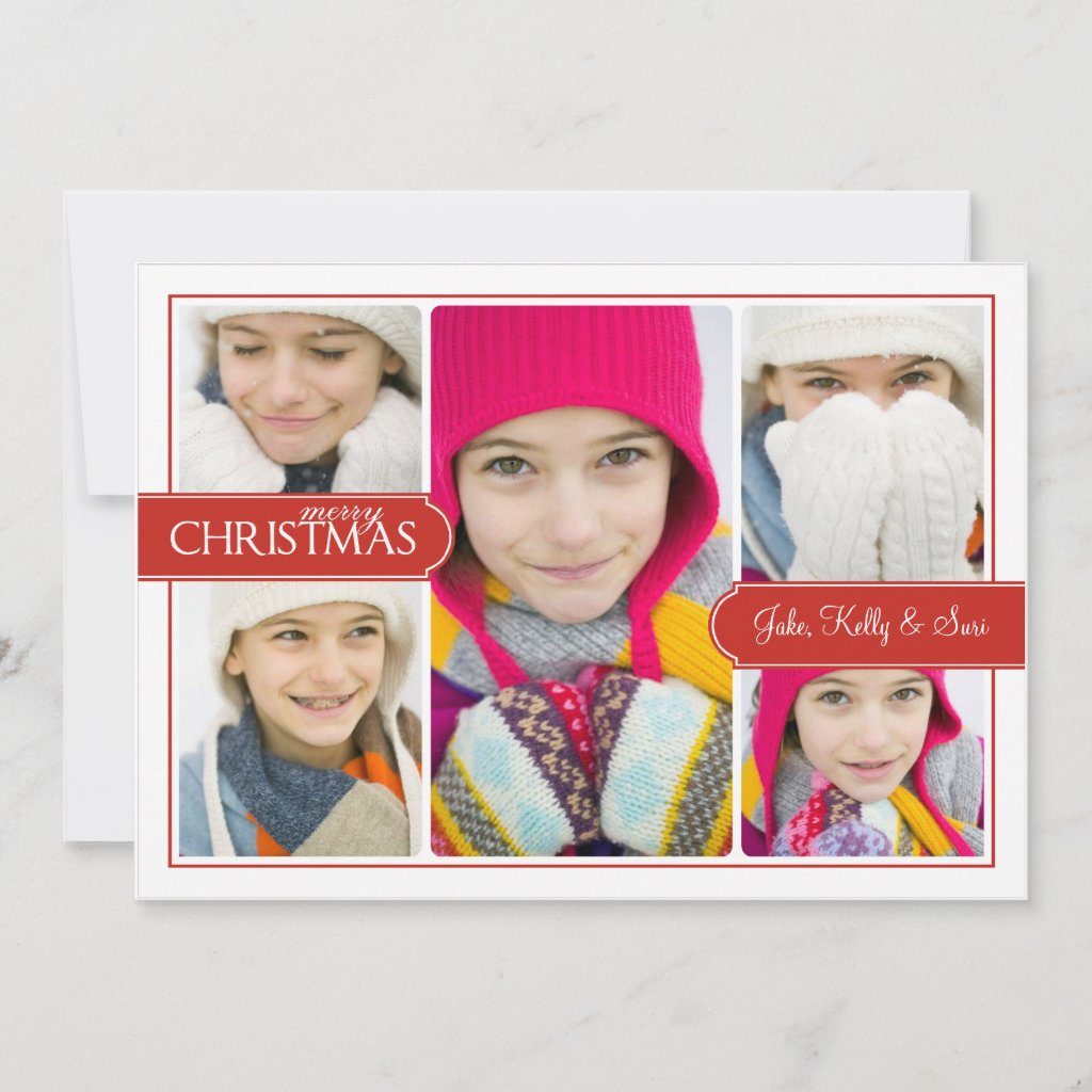 Red Banner Merry Christmas Collage Greeting Card