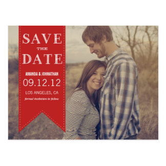 Red Banner Photo Save The Date Post Cards
