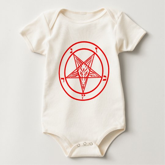 Red Baphomet Pentagram Baby Bodysuit