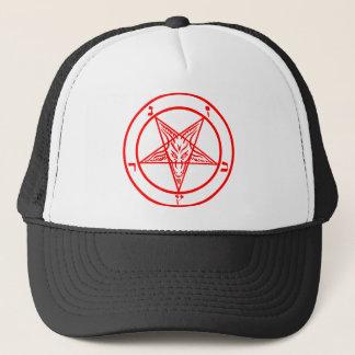 Red Baphomet Pentagram Trucker Hat