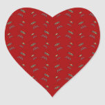 red barbeque pattern heart sticker