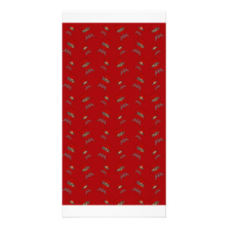 red barbeque pattern photo greeting card