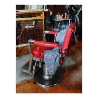 Red Barber Chair Print