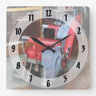 Red Barber Chair Square Wall Clock